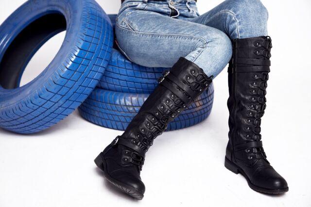 "Womens Black Fashion Tall Knee High 1/"" heel Boots 6 6.5 7 7.5 8 8.5 9 1//2 10 NEW"
