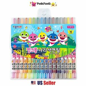 Baby Shark Family 16-Color Twist Colored Pencil Set