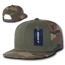 Olive & Woodland Camouflage Flat Bill Snapback Camo Baseball Cap Caps Hat Hats