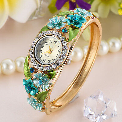 NEW Women Fashion Bangle Crystal Flower Bracelet Analog Quartz Watch Wrist Watch