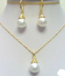 Ladies-Set-18K-Gold-Plated-White-South-Sea-Shell-Pearl-Pendant-Earring-Jewelry