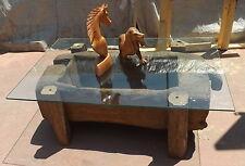 Vecchio attrezzo originale x battere il riso Teak tavolo caffè fumo cm 125x81