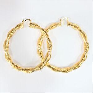 9-Ct-9K-Gold-Filled-Hoops-Femme-Boucles-d-039-oreilles-80-mm-Prom-Femmes-Grand-Cadeau-Rond