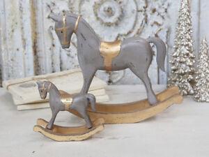 Shabby Chic Natale : Chic antico cavallo a dondolo natale legno grigio oro cm shabby