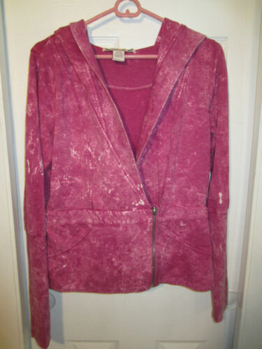 Fuchsia Mineral Wash Zip Front Hooded Jacket From Hot Topic LARGE
