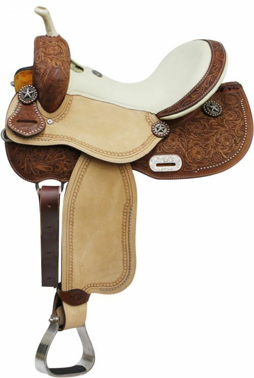 16  Cream Seat Tooled Leather Barrel Racing Racer Saddle Texas Star Conchos FQHB