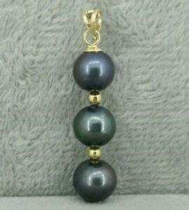 Black-round-AAA-9-10-mm-natural-Tahitian-pearl-pendant-necklace-14k-Gold