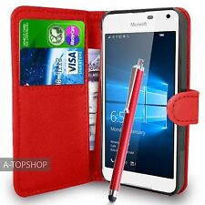 Red Wallet Case PU Leather Book Cover For Nokia / Microsoft Lumia 650 Mobile