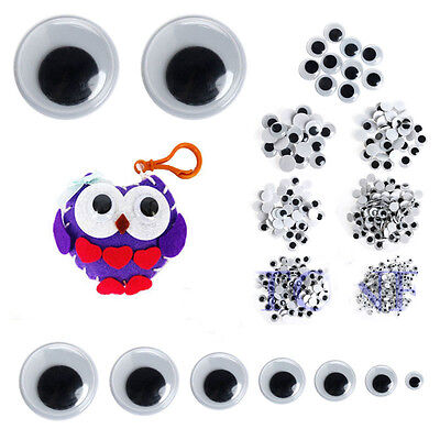 500Pcs 8mm Mix Color Eyelashes Wiggly Wobbly Googly Eyes Scrapbooking Crafts