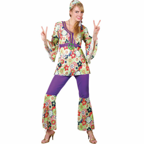 Womens Ladies 60s 70s Retro Groovy Flare Hippie Hippy Fancy Dress Costume UK 6-2