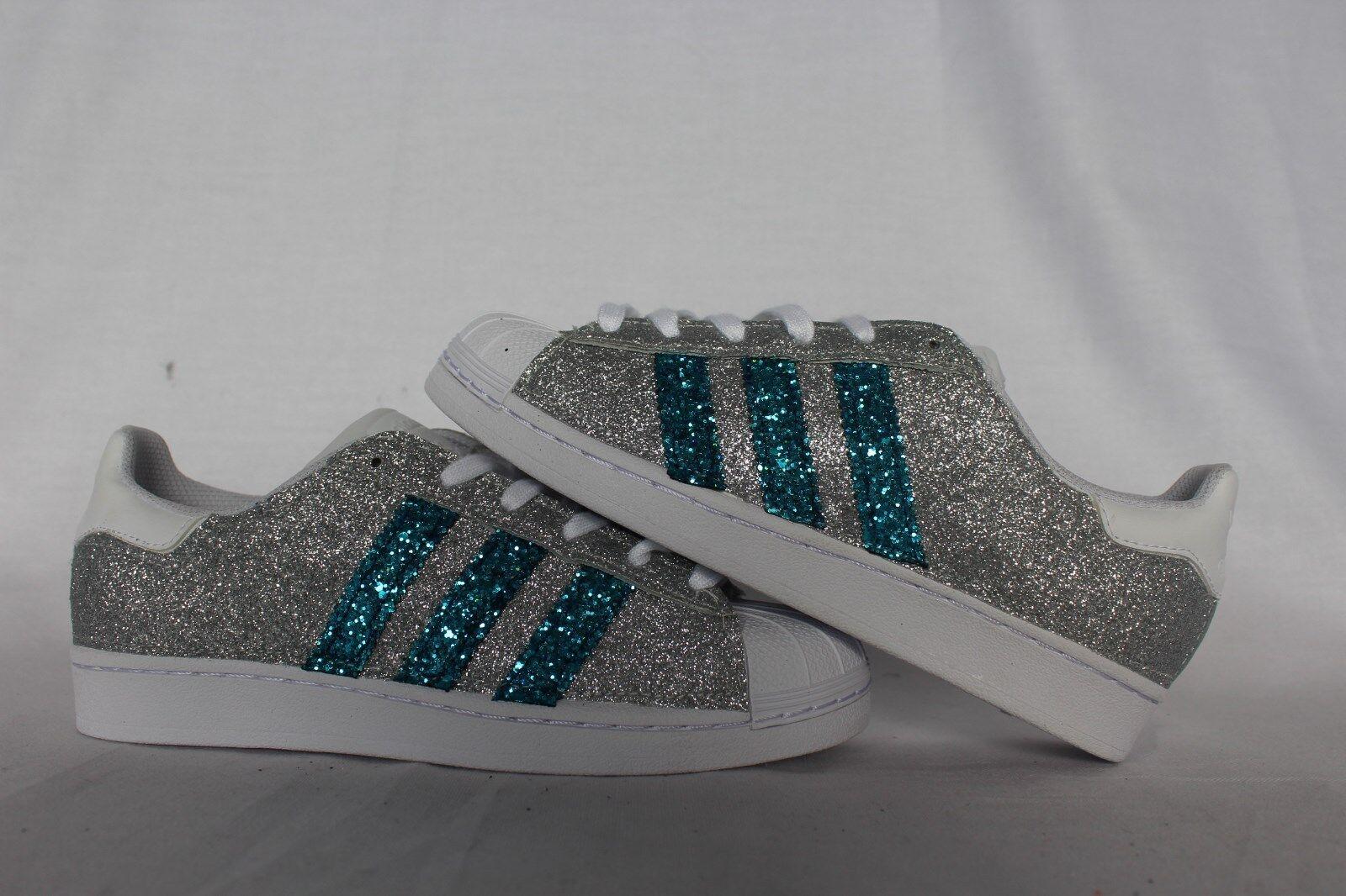 schuhe adidas super star con glitter Silber e glitter azzurro acqua