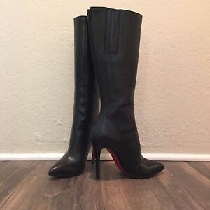 88d0eaa2f8e Image is loading Christian-Louboutin-Black-Leather-Boots-Size-35-5