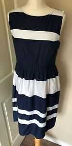 Fat-Face-Dress-Navy-White-Stripe-Lined-10-Summer-Dress-Holiday