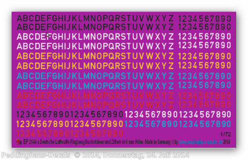 1//72 ep 2144a Luftwaffen Codes in 6  mm