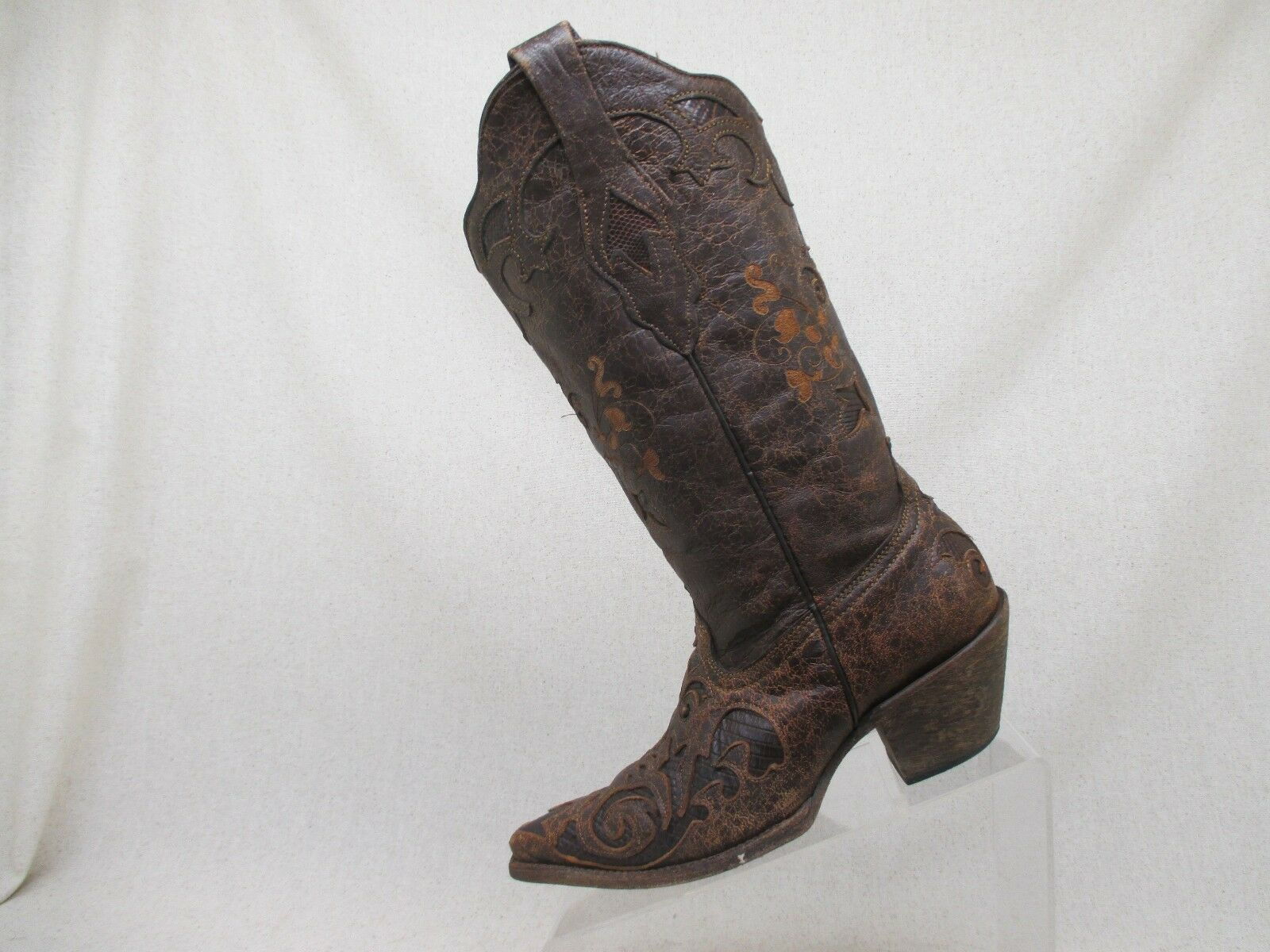 Corral Vintage Distressed Brown Leather Lizard Skin Inlay Cowboy Boots Size 6 M