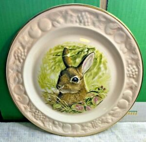 Royal Worcester-English Bone China-Palissy-Embossed Rabbit Plate-24cm-Vintage