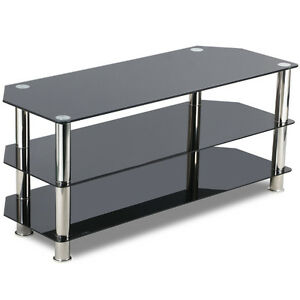 Image Is Loading Black Gl Tv Stand Chrome Legs 3 Tier