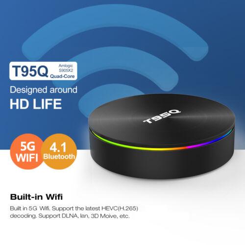 T95Q Android8.1 BT4.1 Quad Core 4GB//32GB Smart TV Box UHD 4K HD 1080p WiFi Media