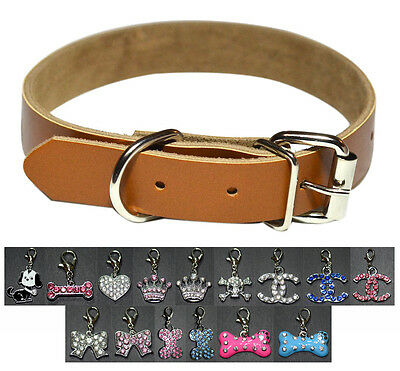 New Plain Brown Real Leather Pet Dog Cat Puppy Collar w One Charm Tag S M L
