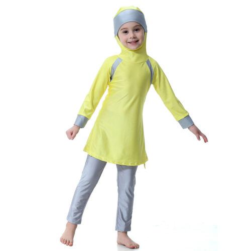 Muslim Kids Girls Swimwear Modest Full Cover Swimsuit Islamic Beachwear Arab Set