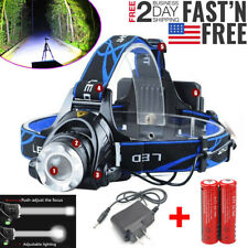 100000LM Rechargeable Head light T6 LED Tactical Headlamp Zoomable+Charger+18650