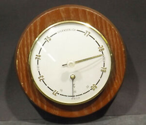 Old-Round-MOCO-Barometer-Thermometer-Dm-4-11-16in-X-1-3-8in-IN-Wooden-Case