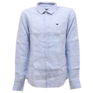 new concept 07f60 d2b0b Details about 8719T camicia bimbo ARMANI JUNIOR lino azzurro shirt linen