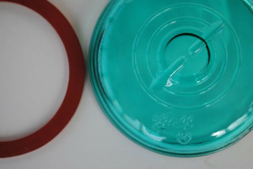 Vintage BLUE GLASS LID /& RUBBER SEAL for BALL IDEAL HERITAGE Canning Jar NEW NOS