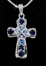 "Royal Blue Austrian Crystal Cross Silver Tone Pendant 17"" Necklace"