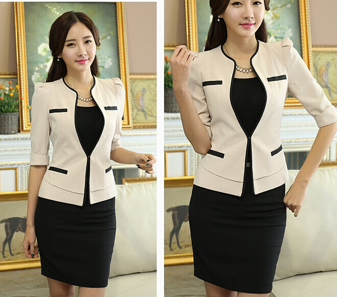 2a7a04178df2 Elegante Dimensioneur completo donna beige nero lunga gonna 7050 giacca  manica nnlliv8254-Tailleur e abiti sartoriali