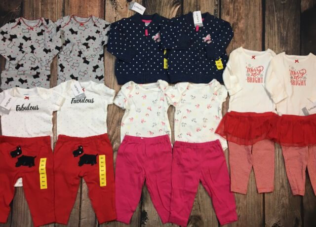 99d24996e NWT Lot Twin Girls 16 pc Carters Outfits Pants Shirts Clothes Winter Size 6  Mo