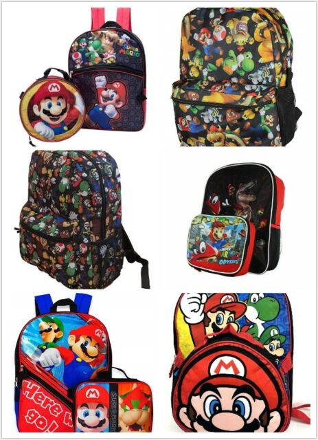 New Super Mario Brother Rolling Backpack w Lunch Box