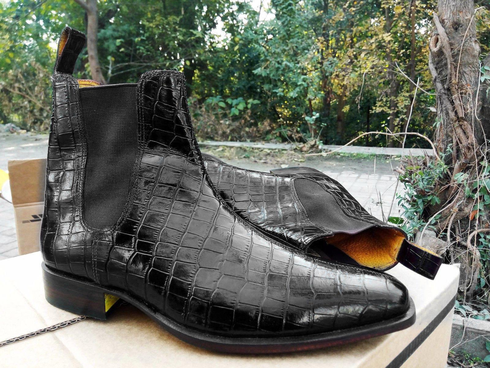 consegna lampo Alligator Chelsea stivali, nero Crocodile Chelsea avvio, Handmade Leather Leather Leather stivali  spedizione gratuita in tutto il mondo
