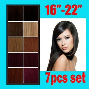 Clip-In-Remy-Real-Human-Hair-Extensions-Full-Head-7pcs-All-Color-15-18-20-22