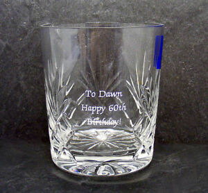 Personalised Crystal Whisky Glass 20th Wedding Anniversary Gift  In Blue Box