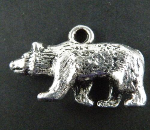 25pcs Tibetan Silver Bear Jewelry Making Charms 24x15x5mm 9384