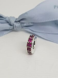 6a35fa6fdc510 Details about Authentic Pandora Synthetic Ruby Red Eternity Spacer Charm  791724SRU New