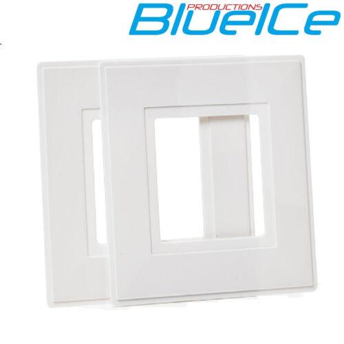 2 x single lumière revenir socket plaque doigt blanc surround
