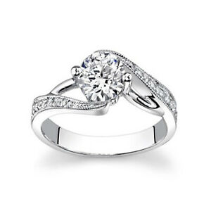 1.15 Ct Certified Moissanite Anniversary Ring 18K Solid White Gold ring Size 7 8