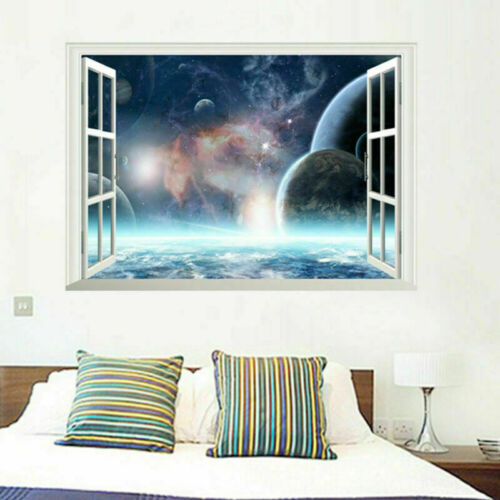 3D Window View Backround Wall Sticker Art Home Decal Mural Decor DIY Removable