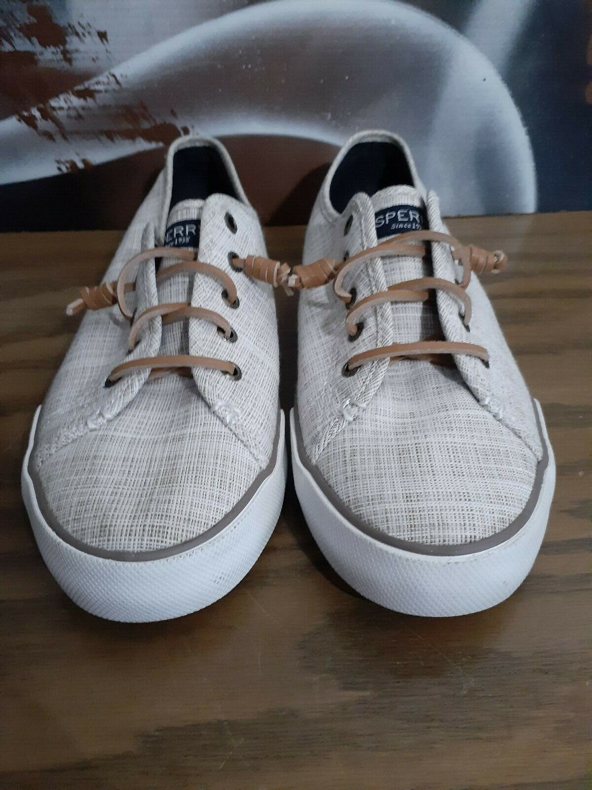 Sperry STS98863 women's tan fabric lace up oxfords shoes size10 M