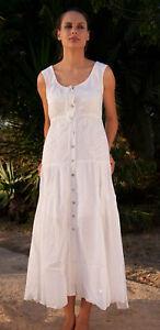 e1b1b8b8702c3a Das Bild wird geladen Damen-Sommerkleid-Weiss-Maxi-Kleid-Baumwolle-Gr-40-