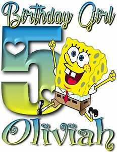 Image Is Loading Happy Birthday SpongeBob Personalized T Shirt