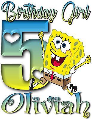 Sponge bob Personalized Applique Birthday shirt ONLY