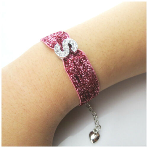 NEW ARRIVAL PINK GLITTER CHOKER /& BRACELET WITH INITIAL DESIGN FOR ADULT