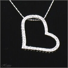 Big Open Heart Pendant Necklace Charm Valentine's Day Jewelry Clear CZ 18k W GP