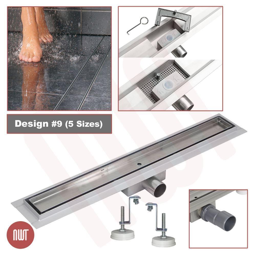 600 mm long rectangulaire en acier inoxydable Linéaire Pièces humides Drain (Design 9)