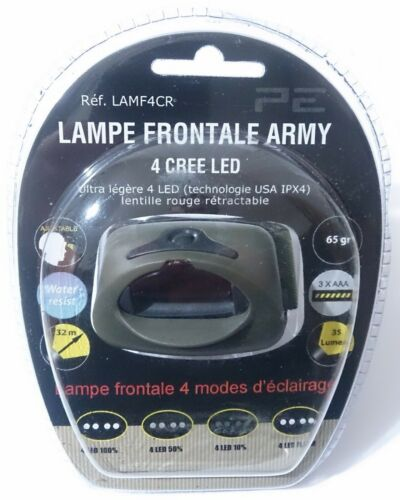 LAMPE FRONTALE ARMY 4 CREE LED Tactical Commando Opex militaire
