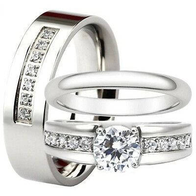 His and Hers Stainless Steel Engagement CZ Ring Match Wedding Band Set Men Women