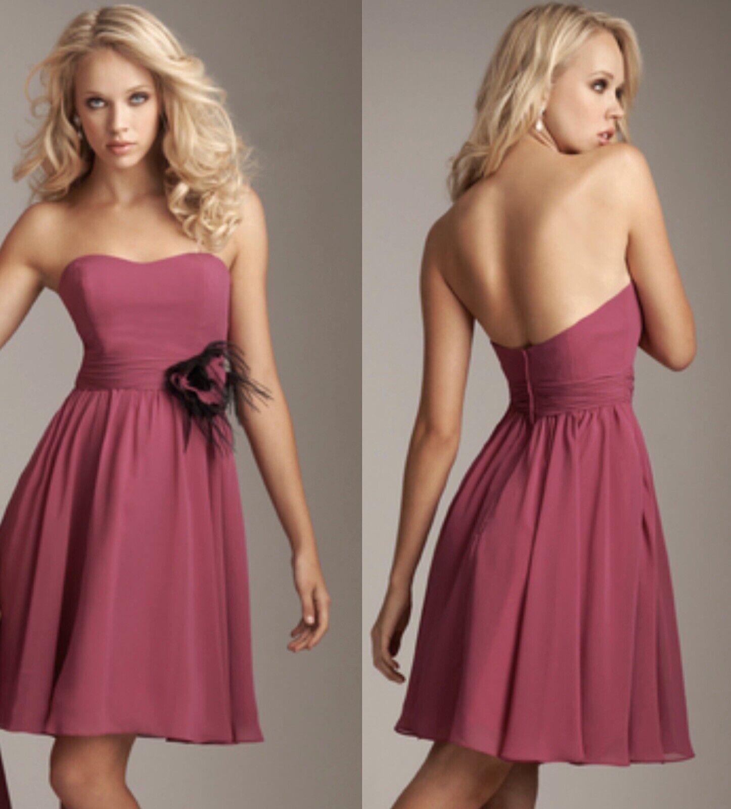 NWT Tea Length Allure Bridals Bridesmaid Dress 1225 Wildberry M / 10 Chiffon
